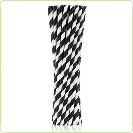 ekologiczne rurki papierowe w czarne paski