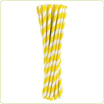 ekologiczne rurki papierowe w żółte paski