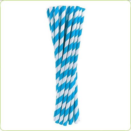 grube rurki papierowe niebieskie paski