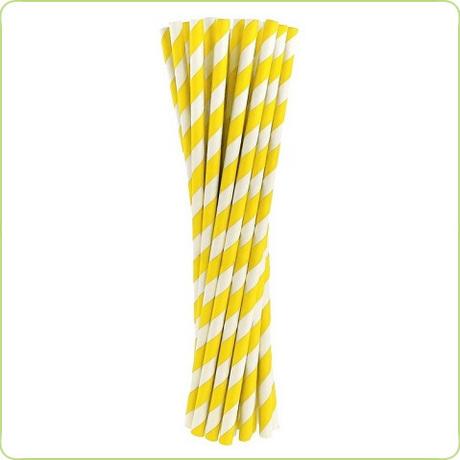 grube rurki papierowe w żółte paski