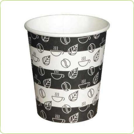 Jednorazowy kubek papierowy w biało czarne paski o pojemności 300 - 380ml