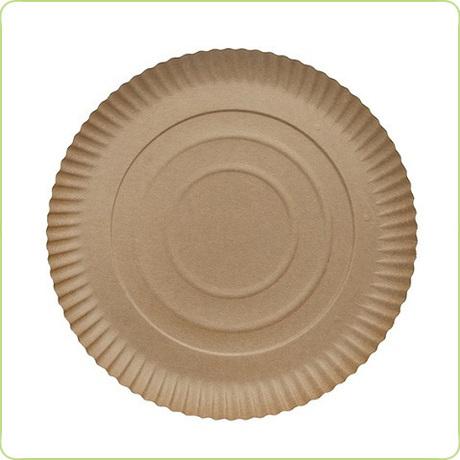 Papierowy talerz 28cm obiadowy brązowy
