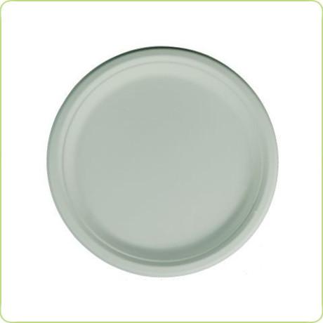 okrągły jednorazowy talerz z trzciny cukrowej