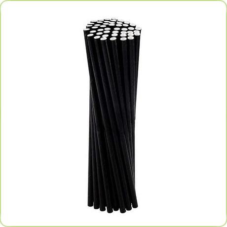 Eleganckie słomki papierowe - całe czarne