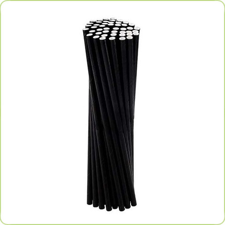Grube słomki papierowe - całe czarne